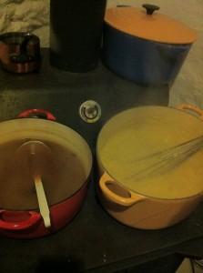 cider and polenta side by side