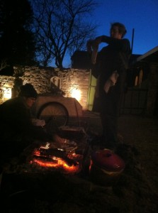 Flatbread on the fire by moonlight